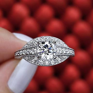 billige Motering-Dame Ring Diamant Kubisk Zirkonium liten diamant 1pc Hvit Kobber Geometrisk Form Luksus Unikt design Fest Gave Smykker Klassisk Pave Blomst Kul Smuk