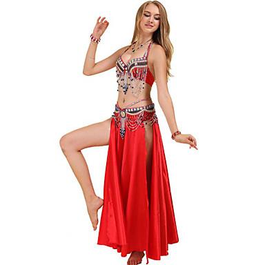 preiswerte Tanzkleider & Tanzschuhe-Bauchtanz Kleid Kristalle / Strass Pailetten Damen Training Leistung Ärmellos Niedrig Polyester