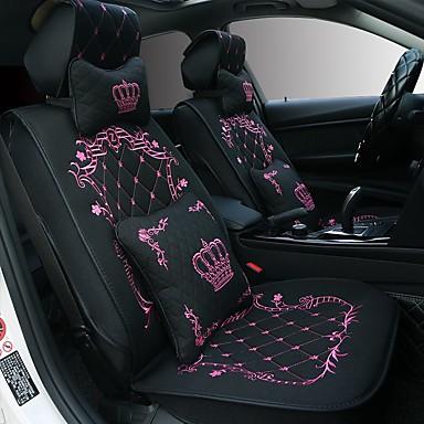 voordelige Auto-interieur accessoires-5 zetels kroon design cartoon autostoelhoes met twee hoofdsteun en twee taille kussens / airbag compatibiliteit / verstelbaar en afneembaar / vier seizoenen universeel / schattig