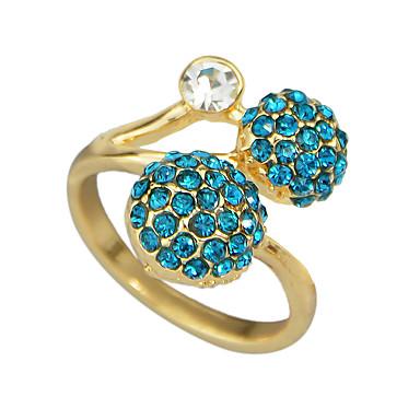 billige Motering-Dame Ring vikle ring 1pc Blå Strass Legering Geometrisk Grunnleggende Daglig Stevnemøte Smykker Fancy Ball Søtt