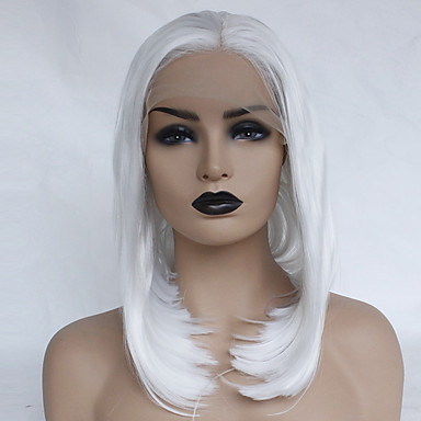 Synthetic Lace Front Wig Straight White Bob   Middle Part White Synthetic  Hair 12-16 inch Women s Soft   Heat Resistant   Women White Wig Short  Glueless ... 413f9cf9a2