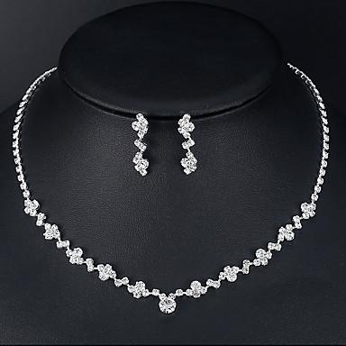 levne Dámské šperky-Dámské Náhrdelník Náušnice Tenisový řetězec Evropský Moderní Módní Štras Náušnice Šperky Stříbrná Pro Svatební Zásnuby 1 sada