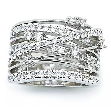 billige Motering-Dame Statement Ring Kubisk Zirkonium liten diamant 1pc Hvit Kobber Geometrisk Form Luksus Unikt design Fest Gave Smykker Klassisk Kul Smuk