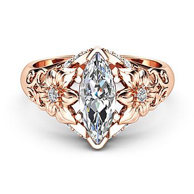 billige Motering-Dame Statement Ring Ring Diamant Kubisk Zirkonium 1pc Rose Gull Kobber Gullplatert rose Geometrisk Form Luksus Unikt design Fest Gave Smykker Klassisk Blomst Kul Smuk