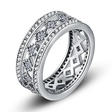 billige Motering-Dame Band Ring Evigheten Ring Kubisk Zirkonium liten diamant 1pc Hvit Kobber Geometrisk Form Luksus Unikt design Fest Gave Smykker Klassisk Kul Smuk
