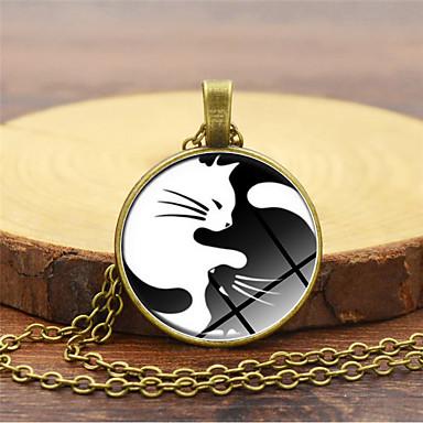 povoljno Modne ogrlice-Žene Ogrlice s privjeskom Klasičan Mačka yin yang Jednostavan Moda Reciklirani papir Krom Zlato Crn Pink 45+5 cm Ogrlice Jewelry 1pc Za Dnevno