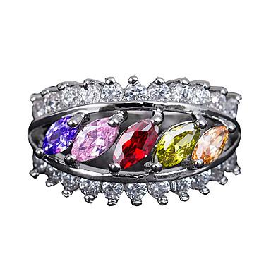 billige Motering-Dame Ring Kubisk Zirkonium 1pc Regnbue Kobber Sirkelformet Europeisk trendy Romantikk Bryllup Stevnemøte Smykker Klassisk Søtt