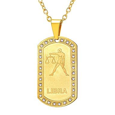 levne Dámské šperky-Dámské Průsvitné Náhrdelníky s přívěšky Zvěrokruh Váhy Módní Nerez Zlatá Černá Stříbrná 55 cm Náhrdelníky Šperky 1ks Pro Dar Denní
