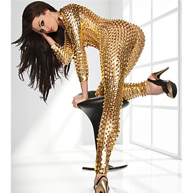 Party Costume Catsuit Skin Suit Adults' Latex Cosplay Costumes Zipper Front Nightclub Jumpsuits Sex Women's Black / Gold / Silver Hollow Christmas Halloween Carnival