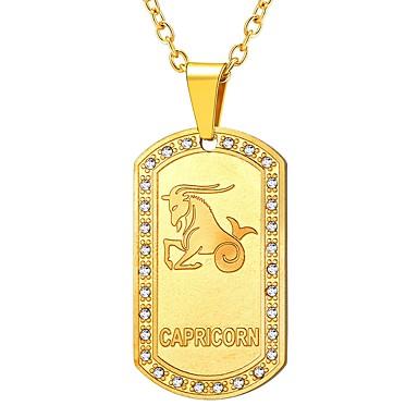 levne Dámské šperky-Dámské Průsvitné Náhrdelníky s přívěšky Zvěrokruh Kozoroh Módní Nerez Zlatá Černá Stříbrná 55 cm Náhrdelníky Šperky 1ks Pro Dar Denní