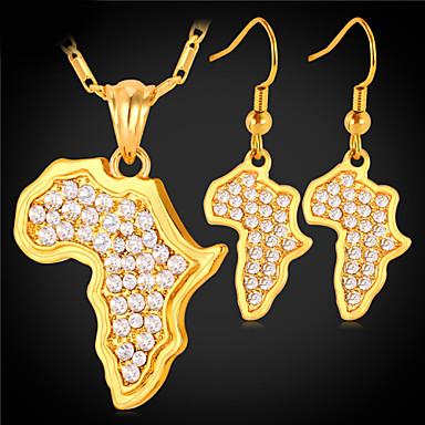 levne Dámské šperky-Dámské Syntetický diamant Mapy dámy Afrika Afričan Křišťál Zlaté Štras Náušnice Šperky Zlatá / Stříbrná Pro Svatební Denní