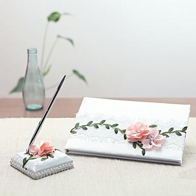 preiswerte Gästebücher & Schreib-Sets-Gästebuch / Schreiber Hochzeit Mit Satin Blume / Horizontal gerüscht Gästebuch / Schreibstift Set