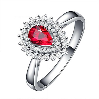 [$31 49] Women's Red Ruby Classic Statement Ring Ring Open Ring S925  Sterling Silver Floral Theme Flower Flower Shape Statement Luxury Holiday  Fashion
