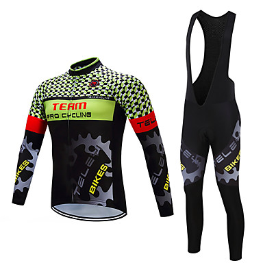 e37c4e3e0 TELEYI Men s Long Sleeve Cycling Jersey with Tights - White Black Plaid   Checkered  Bike Clothing Suit Fleece Lining Quick Dry Winter Sports Polyester Plaid ...
