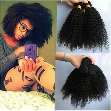 povoljno Ekstenzije od ljudske kose-4 paketića Brazilska kosa Kinky Curly Netretirana  ljudske kose Ljudske kose plete Bundle kose Ekstenzije od ljudske kose 8-28inch Prirodna boja Isprepliće ljudske kose Odor Free Modni dizajn Dar