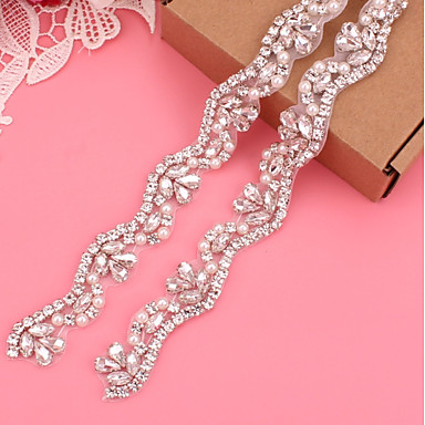 cheap Party Sashes-Silver-Plated Wedding / Party / Evening Sash With Imitation Pearl / Appliques / Crystals / Rhinestones Women's Sashes