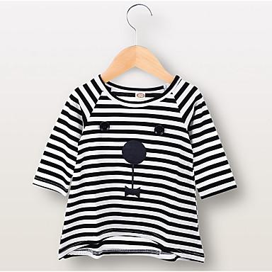 povoljno Odjeća za bebe-Dijete Djevojčice Aktivan Prugasti uzorak Dugih rukava Haljina Crn / Dijete koje je tek prohodalo