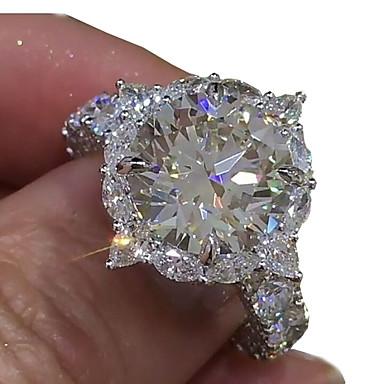 billige Motering-Dame Ring Diamant Kubisk Zirkonium liten diamant 1pc Hvit Kobber Geometrisk Form Luksus Unikt design Iced Out Bryllup Fest Smykker Klassisk HALO Pave Kul Smuk