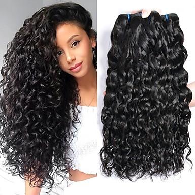povoljno Ekstenzije od ljudske kose-4 paketića Brazilska kosa Water Wave Virgin kosa Headpiece Ljudske kose plete Styling kose 8-28 inch Prirodna boja Isprepliće ljudske kose Nježno Najbolja kvaliteta Rasprodaja Proširenja ljudske kose