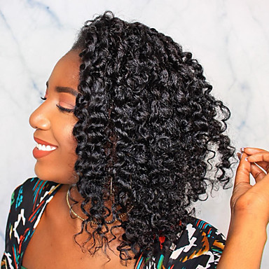 Remy kosa Full Lace Lace Front Perika Bob frizura stil Brazilska kosa Afro Kinky Natural Perika 130% 150% 180% Gustoća kose Modni dizajn Nježno Žene Udobnost kovrčav Žene Dug Perike s ljudskom kosom