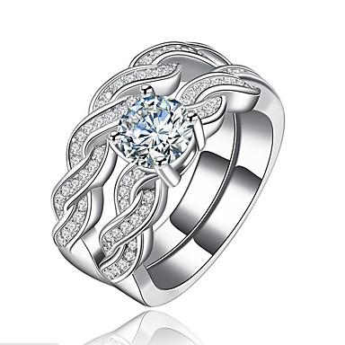 billige Motering-Dame Parringer Diamant Kubisk Zirkonium liten diamant 2pcs Hvit Kobber Geometrisk Form Luksus Unikt design Bryllup Gave Smykker Klassisk Kul Smuk