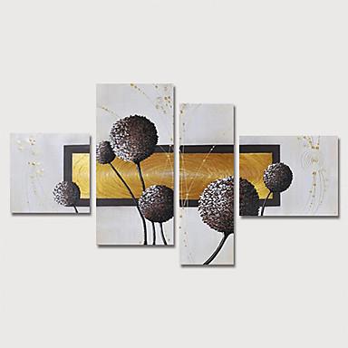 povoljno Ulja na platnu-Hang oslikana uljanim bojama Ručno oslikana - Sažetak Cvjetni / Botanički Moderna Uključi Unutarnji okvir / Četiri plohe