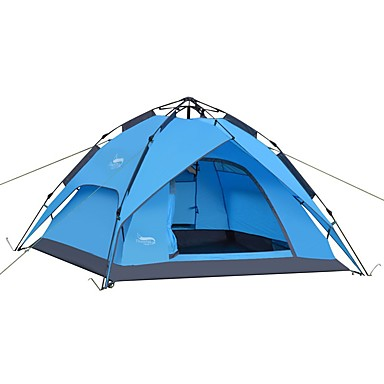 cheap Tents, Canopies & Shelters-DesertFox® 4 person Automatic Tent Outdoor Lightweight Windproof Rain Waterproof Double Layered Automatic Camping Tent >3000 mm for Beach Camping / Hiking / Caving Picnic Tulle Oxford Cloth