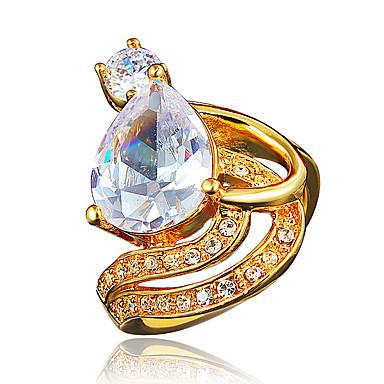 billige Motering-Dame Ring Forlovelsesring vikle ring Kubisk Zirkonium 1pc Gull Sølv 18K Gullbelagt Gullt gull Fuskediamant Statement Stilfull Romantikk Fest Engasjement Smykker Klassisk