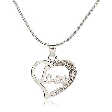 9d7ded20b6f2 Mujer Zirconia Cúbica diamante pequeño Collares con colgantes Diamante  Sintético Corazón Letra Coreano Moda Estilo lindo Encantador Plata 39 cm  Gargantillas ...