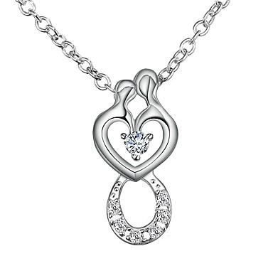 73da315ddaf Women s Clear Cubic Zirconia tiny diamond Rolo Pendant Necklace Necklace  Silver Plated Heart Simple Romantic Fashion Cute Wedding Silver 46 cm  Necklace ...