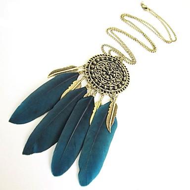 preiswerte Vintage Halskette-Damen Statement Ketten Birne Blattform Traumfänger Ethnisch Feder Schwarz Blau 55 cm Modische Halsketten Schmuck 1pc Für Karnival