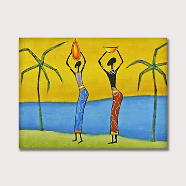 cheap Wall Art-Oil Painting Hand Painted - Abstract People Modern Stretched Canvas