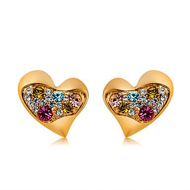 99b1802db5af Mujer Multicolor Cristal Clásico Pendientes cortos Chapado en Oro Diamante  Sintético Aretes Corazón Romántico Modern Estilo lindo Joyas Dorado Para  Diario ...