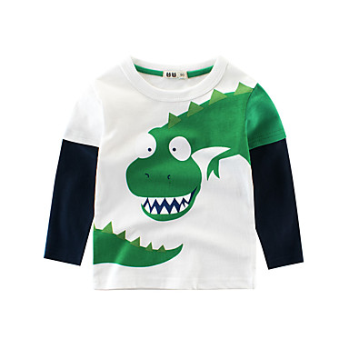 cheap Boys' Tops-Kids Boys' Basic Sports School Dinosaur Print Print Long Sleeve Regular Cotton Blouse Beige
