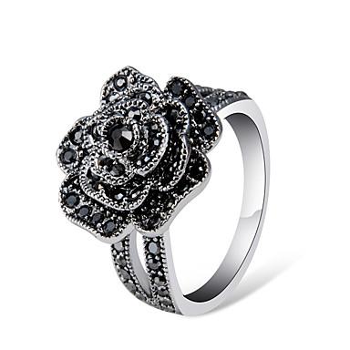 billige Motering-Dame Ring Belle Ring Kubisk Zirkonium 1pc Grå Sølvplett Chrome Fuskediamant Kunstnerisk trendy Elegant Fest Aftenselskap Smykker Retro Flower Shape Kul