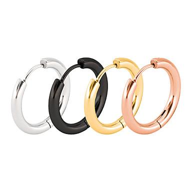 povoljno Modne naušnice-Muškarci Okrugle naušnice Klasičan Vertikalno Hip-hop nehrđajući Naušnice Jewelry Crn / Rose Gold / Zlato Za Angažman Dar 1 par