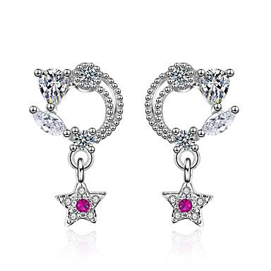 95cb6bdd5 Women's Fuchsia Cubic Zirconia Stardust Stud Earrings Dangle Earrings  Platinum Plated Imitation Diamond S925 Sterling Silver Earrings Flower Star  Korean ...