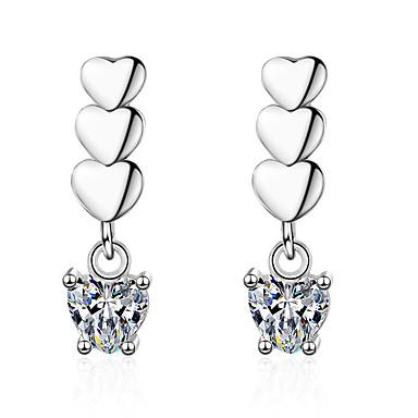 db41d1379 Women's Clear Diamond Cubic Zirconia Geometrical Stud Earrings Dangle  Earrings Platinum Plated Imitation Diamond S925 Sterling Silver Earrings  Heart ...