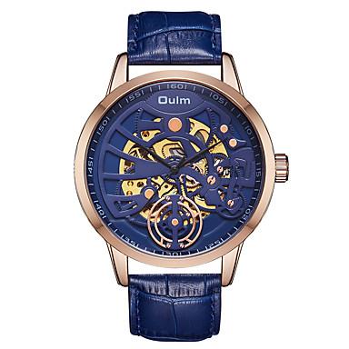 preiswerte Designer Uhren-Oulm Herrn Uhr Mechanische Uhr Automatikaufzug Echtes Leder Schwarz / Blau / Braun 30 m Wasserdicht Transparentes Ziffernblatt Cool Analog Modisch Skelett Schwarz Kaffee Blau / Ein Jahr