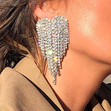 povoljno Modne naušnice-Žene Viseće naušnice Srce Stilski Elegantno Svaki dan Iced Out Imitacija dijamanta Naušnice Jewelry Zlato / Pink Za Vjenčanje Angažman 1 par