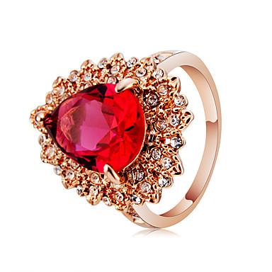 billige Motering-Dame Statement Ring Ring Krystall 1pc Rose Gull Chrome Gullplatert rose Fuskediamant Mote Elegant Oversized Karneval Maskerade Smykker Fancy Pære Smuk