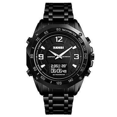 levne Pánské-SKMEI Pánské Sportovní hodinky Náramkové hodinky Digitální hodinky Digitální Nerez Černá / Stříbro 30 m Voděodolné Alarm Kalendář Analog - Digitál Luxus Módní - Černá Stříbrná Jeden rok Životnost