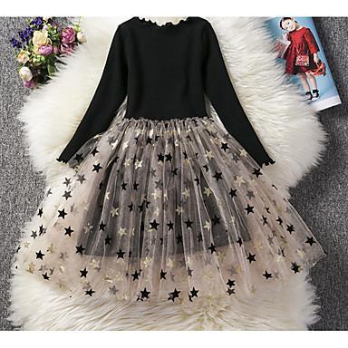 cheap Girls' Dresses-Kids Girls' Basic Solid Colored Polka Dot Long Sleeve Dress Light Brown