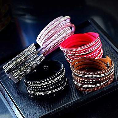 cheap Jewelry & Watches-Women's Wrap Bracelet Layered Long Stacking Stackable Cheap Ladies Chic & Modern European Leather Bracelet Jewelry Black / White / Purple For Party Evening Daily Prom / Rhinestone