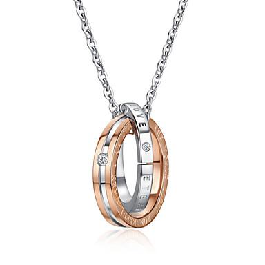 levne Dámské šperky-Pánské Dámské Náhrdelníky s přívěšky Crossover Ryté Haç Zámkový kruh Vztah Moderní Módní počáteční šperky Volframová ocel Nerezové Černá Růžové zlato 50 cm Náhrdelníky Šperky 1ks Pro Svatební Zásnuby