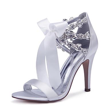 hesapli Kadın Düğün Ayakkabıları-Kadın's Düğün Ayakkabıları Bağcıklı Stiletto Topuk Yuvarlak Uçlu Taşlı / Fiyonk / Saten Çiçek Saten Tatlı / İngiliz Bahar / İlkbahar yaz Mor / Sarı / Kırmzı / Parti ve Gece