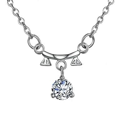 levne Dámské šperky-Dámské Průsvitné Diamant Kubický zirkon Náhrdelníky s přívěšky Řetízky Náhrdelník Rolo Váhy Jednoduchý Základní Romantické Módní Postříbřené Stříbrná 46 cm Náhrdelníky Šperky 1ks Pro Dar Denn