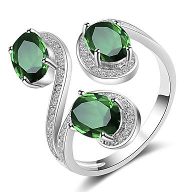 levne Dámské šperky-Dámské Otevřete kruh Kubický zirkon 1ks Žlutá Zelená Modrá Měď Svatební Párty Šperky