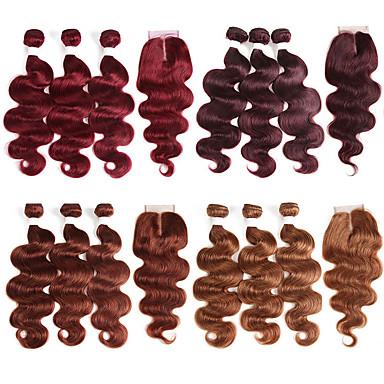 povoljno Ekstenzije od ljudske kose-3 paketi s zatvaranjem Brazilska kosa Bouncy Curl Remy kosa Ekstenzije od ljudske kose Kosa potke zatvaranje 10-26 inch Natural Isprepliće ljudske kose Nježno Najbolja kvaliteta Novi Dolazak