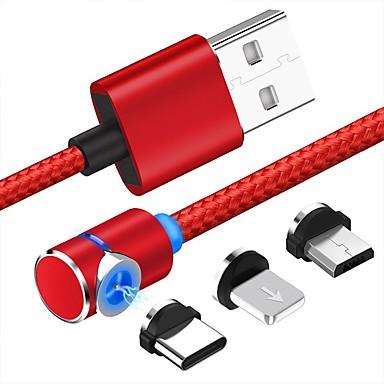 preiswerte Telefone & Zubehör-Micro-USB / Beleuchtung / Typ-C Kabel 1m-1.99m / 3ft-6ft 1 bis 3 Kunststoff / Aluminium USB-Kabeladapter Für Samsung / Huawei / Xiaomi